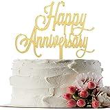 INNORU ™ Happy Anniversary Cake Topper - Gold Mirror Wedding Anniversary,Birthday Party Decoration Photo Props