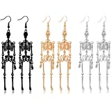 NVENF 3Pairs Halloween Skeleton Earrings for Women Gothic Skull Skeleton Drop Earrings Dress Up Costume Earring for Girls