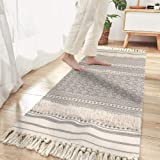 Seavish Tufted Cotton Area Rug,2.3X 5.2 Bohemia Geometric Hand Woven Fringe Runner Throw Rugs Shag Accent Fringe Tassel Rug f