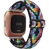 WONMILLE Adjustable Elastic Watch Band Compatible with Fitbit Versa/Versa 2/Versa Lite for Women Girls Stretch Boho Sport Wat