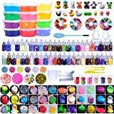 HSETIY Super Slime Kit Supplies-12 Crystal Clear Slimes with 54 Packs Glitter Sheet Jars, 3 Jelly Cubes,4 Pcs Fruit Slices,16