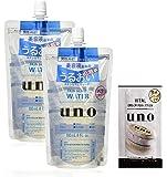 【Amazon.co.jp限定】 uno(ウーノ) スキンセラムウォーター 化粧水 詰め替え 180ml × 2個 + おまけ (バイタルクリームパーフェクション メンズ オールインワン サシェ)