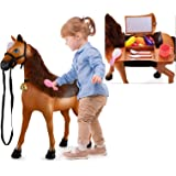Temi Riding Horse for Kids, Ride on Horse Riding Toy Push Walking Animal with Realistic Sounds & Light, Fruit, Vegetable, Kit
