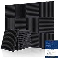 BUBOS 吸音材 消音 騒音 防音 吸音対策 室内装飾 楽器 ウレタンフォーム ウェッジ 吸音材質ポリウレタン, 黒…