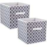 DII CAMZ38463 Foldable Fabric Storage Containers (Set of 2), Large S/2, Gray, 2 Count