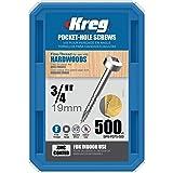 Kreg SPS-F075-500 0.75-Inch No.6 Fine Thread Pan Head Pocket Screws, 500-Count