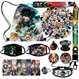 KINON My Hero Academia Gift Sets, Including Drawstring Bag, Face Masks, Cute Stickers, Bracelet, Necklace, Ring, Lanyard, But