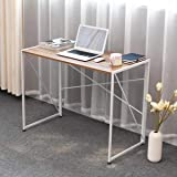 Computer Desk Modern Simple Study Desk Industrial Style Folding Laptop Table for Home Office - Ancient Maple