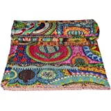 Indian Patch Work Cotton Kantha Quilt Queen Bedspreads Throw Blanket (Multi Floral)