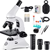 単眼光学顕微鏡 80~2000倍の強力な生物実体顕微鏡スマホホルダー付き15スライド付き 子供 学生 大人初心者の学習用…