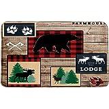MNSC Bear Bath Mat Rustic Moose Bear Buffalo Plaid Band Deer Forest Animal Lodge Cabin Vintage Wooden Country Farm Wildlife R