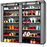 TXT&BAZ 36-Pairs Portable Shoe Rack Double Row with Nonwoven Fabric Cover (7-Tiers Silver Grey)