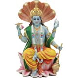 Ebros Hindu God Vishnu Vasudeva Sitting On Throne Of Cobras Statue Preserver and Protector Blue Avatar Figurine Eastern Enlig