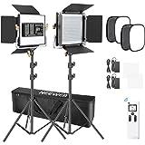 Neewer 2パック 高度な2.4G 480LEDビデオライト 写真照明キット バッグ付き 調光可能な2色LEDパネル 2.4Gワイヤレスリモコン、ソフトボックスとライトスタンド付き ポートレート製品写真用