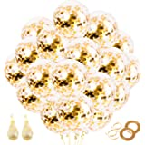 RUBFAC 72pcs Gold Confetti Balloons with Gold Paper Confetti Dots, 12 Inch Latex Party Balloons, Gold Glitter Balloons, for P