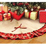 OLYPHAN Burlap Tree Skirt for Christmas Rustic Large Country Natural Brown Skirts & Red Plaid Trim Farmhouse Xmas Holiday Dec
