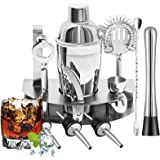 Roccar Cocktail Shaker Set - 12 Piece Bartender Kit Bar Tool with Bar Accessories, Stand, Stainless Steel Martini Mixer, Drin