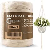 DeeCoo Macrame Cord 4mm x 328yd | 100% Natural Cotton Macrame Rope | 3 Strand Twisted Cotton Cord for Handmade Plant Hanger W