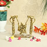 Handicrafts Paradise Radha Krishna on Swing on Metal with Golden Finish