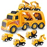 Construction Truck Set with Sound and Light, Play Vehicles in Friction Powered Carrier Truck, Car Toy Set for 3 4 5 6 7 Years