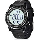 Beeasy Digital Watch Waterproof with Stopwatch Alarm Countdown Dual Time, Ultra-Thin Super Wide-Angle Display Digital Wrist W