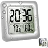 Digital Bathroom Shower Clock with Mirror Suction Cup, Home Decor Temperature Clocks Indoor Thermometer Hygrometer, Silver Cl