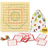 Wood Geo Board - Boys and Girls,Graphical Educational Mathematics Material with Rubber Tie and Cards, Preschool Kids Mathemat