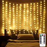 6.5 x 5 ft LED Window Curtain Lights, Photo Backdrop Lights Warm White String Lights Fairy Light with Remote for Wedding Part