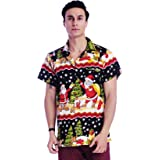 Funky Christmas Hawaiian Shirts for Mens Shirts Beach Vacation Santa Claus