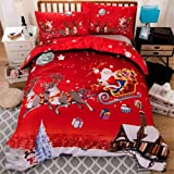 Christmas Bedding Duvet Cover 2 Piece Set Santa Claus Deer Pattern HD Printed Comforter Cover-Luxury Super Soft Microfiber Do