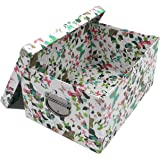 Guozi Decorative Cardboard Storage Box with Lid and Metal Reinforced Corners - Collapsible and Stackable - Office File Storag