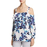 NYDJ Womens MGGT3530 Ruffled Off Shoulder Top 3/4-Sleeve T-Shirt - Multi