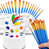 50 Pcs Paint Brush with 12 Pcs Paint Tray Pallet for Kids and Adults to Create Art Painting