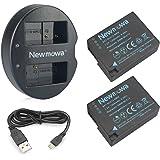 Newmowa DMW-BLC12 互換バッテリー 2個+充電器 対応機種 Panasonic DMW-BLC12/BP-DC12, Panasonic Lumix DC-G95 DMC-G5 DMC-G6 DMC-G7 DMC-GH2 DMC-FZ200 DMC-FZ1000 DC-FZ1000 II DMC-FZ2500
