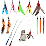 Hianjoo Feather Teaser Cat Toy Set 12 pcs, Interactive Toys for Cats 2 Retractable Cat Wand Funny Sticks and 10 Replacement F