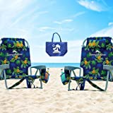 Tommy Bahama 2 2015 Backpack Cooler Chairs with Storage Pouch and Towel Bar- Green/Light Blue