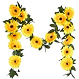 LSKY Artificial Flower Garland Fake Flower Vine Garland for Home Kitchen Wedding Decor Sunflower Garland