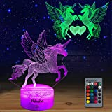Unicorn Night Light for Kids,Dimmable LED Nightlight Bedside Lamp,16 Colors+7 Colors Changing Touch&Remote Control Best Birth