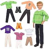 Barwa Clothes and Accessories for Barbie's Boyfriend Ken Dolls (5 Clothes Outfits + 2 PCS Shoes for Ken Barbie's Boy Friende)