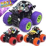 Monster Trucks Toys for Boys - Friction Powered 3-Pack Mini Push and Go Car Truck Jam Playset for Boys Girls Toddler Aged 3 4