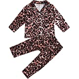 Toddler Baby Boys Girls Leopard Pajamas Set Cotton Shirt Top Pants Nightwear 2PCS Sleepwear Clothes Set