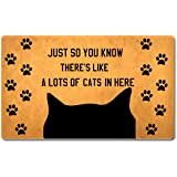 """FXGZHAO Welcome Mat with Rubber Back 30""""(L) x 18""""(W) Just So You Know There's Like a Lots of Cats in Here Funny Doormat for E"""