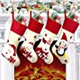 "Yostyle Christmas Stockings, 4pcs 18.5"" Large Xmas Stockings Decorations,Santa Claus Snowman Penguin Bear Character with Hang"