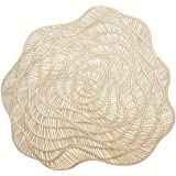 MLADEN Set of 8 Round Placemats Pressed Vinyl Table Mats, Non-Slip Washable Table Placemat,Wedding Tablemats