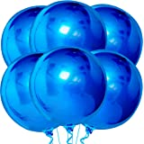 Blue Metallic Balloons for Birthday - Pack of 6 | Large 22 Inch 360 Degree 4D Sphere Round Balloons | Blue Mylar Balloons | M