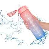 Allfourior 32 / 36oz Water Bottles with Times to Drink – Water Bottle with Straw with Time Marker Water Tracker Bottle BPA Fr