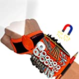 Magnetic Wristband with Flashlight and Tape Measure – Screw, Drill Bit, and Nail Holder with 20 Strong Magnet Pieces Increase