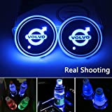 License plate frameX 2pcs LED Car Cup Holder Lights for Volvo, 7 Colors Changing USB Charging Mat Luminescent Cup Pad, LED In