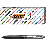 BIC 4-Color Pro Ballpoint Pen, Black Barrel, Medium Point (1.0mm), Assorted Inks, 3-Count
