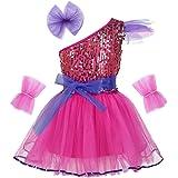 renvena Kids Girls Jazz Modern Ballet Dance Outfits One Shoulder Shiny Sequins Dress with Hairclip Wristband and Belt Set